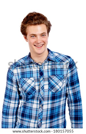 Young smiling man in a blue checkered shirt on white background