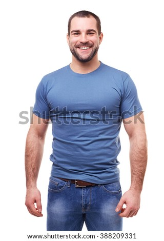 Young smiling man in a blue t shirt on white background