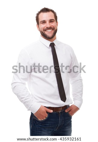 Young smiling man in a white shirt on white background - stock photo