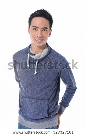 Young smiling man looking at camera isolated on white background