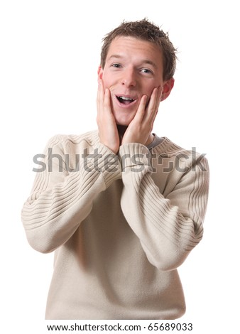 young smiling man surprised isolated over white background - stock photo