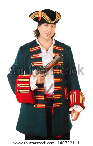 Young smiling man wearing pirate costume. Isolated on white