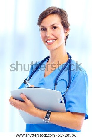 Young smiling medical nurse with stethoscope. - stock photo