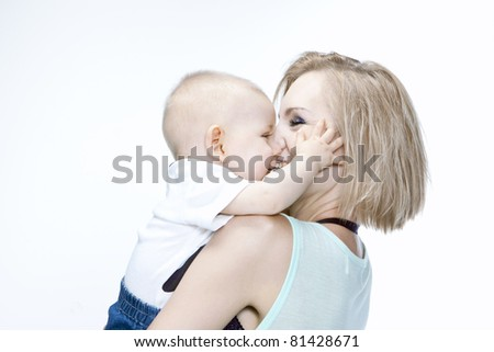 young smiling mother with her baby. White background