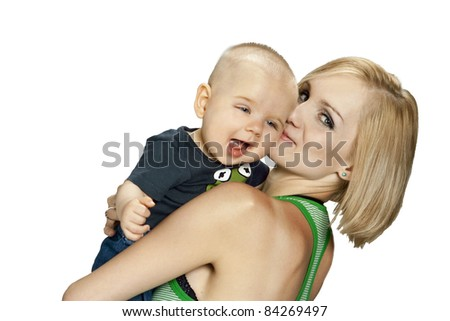 young smiling mother with her smiling baby