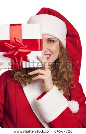 Young smiling Santa emerge from behind a gift box  isolated on white - stock photo