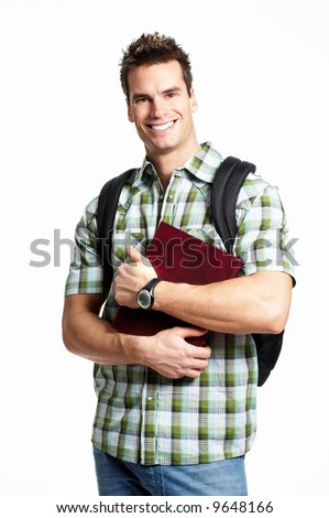 Young smiling  student with books. Over white background