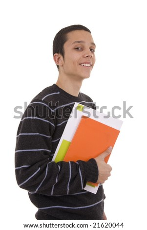 Young smiling student with colorful books