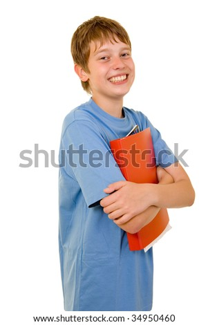 Young smiling student with colorful books - stock photo