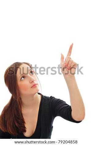 Young smiling student woman. Over white background. Pointing up with her finger - stock photo