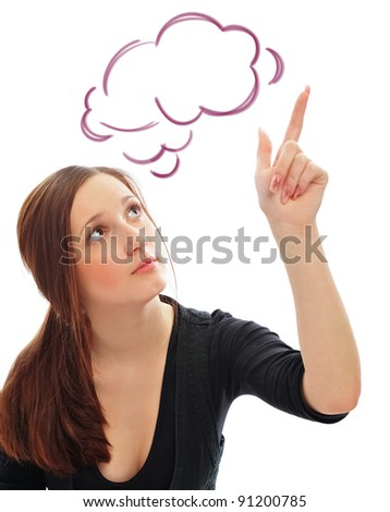 Young smiling student woman. Over white background. Pointing up with her finger. Blank cloud balloon overhead