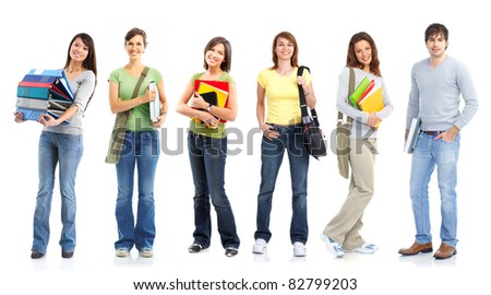 Young smiling  students. Isolated over white background. - stock photo
