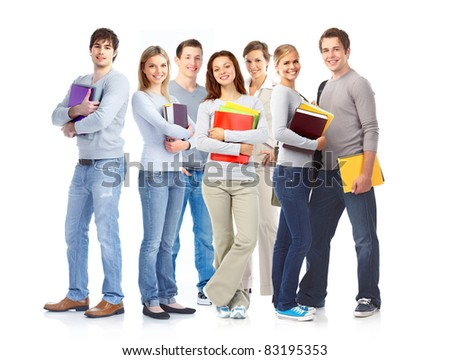 Young smiling  students . Isolated over white background