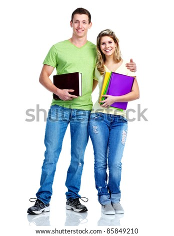 Young smiling  students . Isolated over white background.