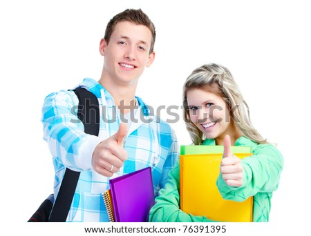 Young smiling  students teens. Over white background