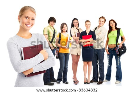 Young smiling  students woman. Over white background