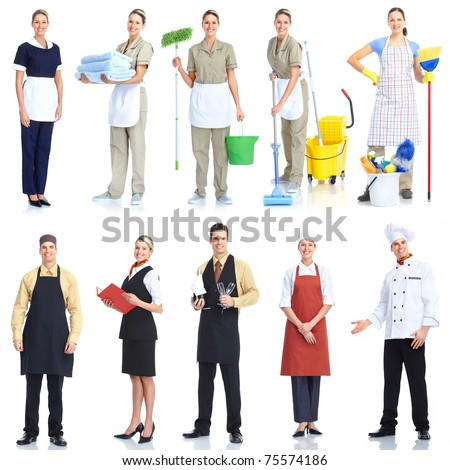Young  smiling waiter chef and cleaner. Isolated over white background - stock photo