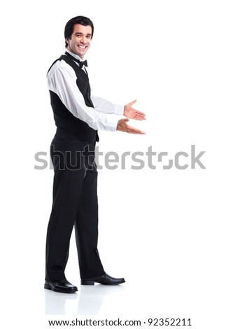 Young  smiling waiter man. Isolated over white background. - stock photo