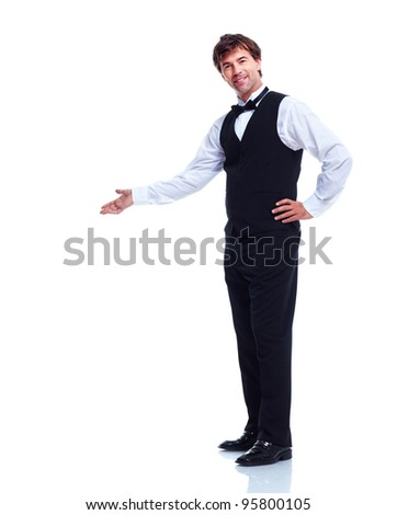 Young  smiling waiter man. Isolated over white background.