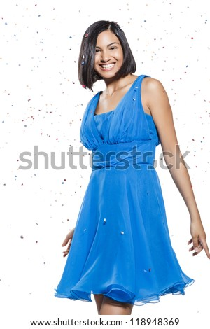 young smiling woman celebrating on white background - stock photo