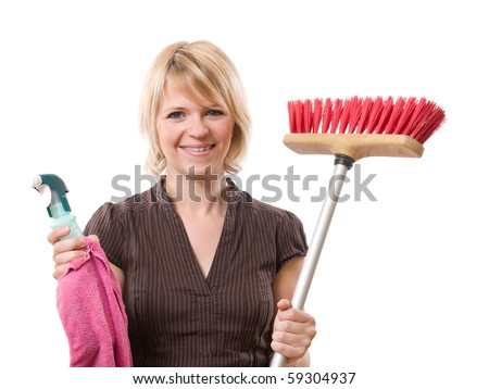 young smiling woman holding housework equipment isolated on white