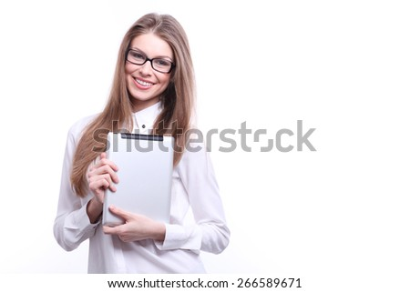 Young smiling woman in glasses with tablet computer PC isolated on white background  - stock photo