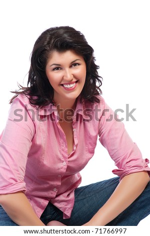 Young smiling woman in red shirt