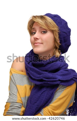 Young smiling woman in violet beret isolated over white - stock photo