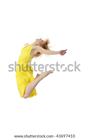 Young smiling woman jumping. Isolated on white background - stock photo