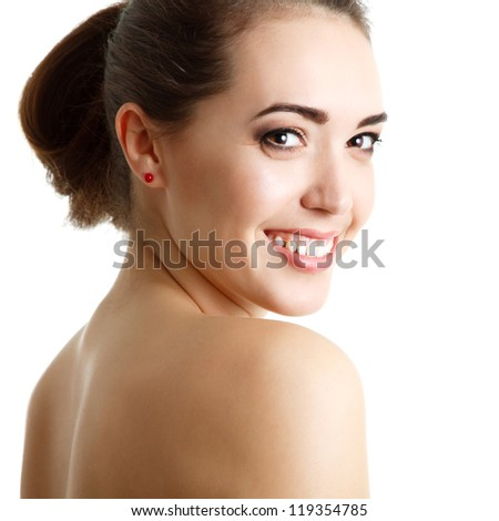 young smiling woman portrait, studio shot, over white