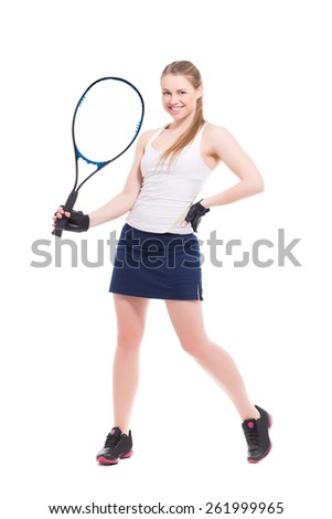 Young smiling woman posing with tennis racket. Isolated on white - stock photo