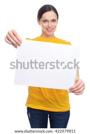 young smiling woman showing white blank advertising banner. Isolated - stock photo