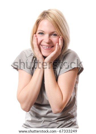 young smiling woman surprised isolated over white background - stock photo