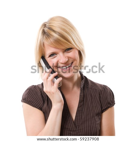 young smiling woman talking at phone isolated on white - stock photo