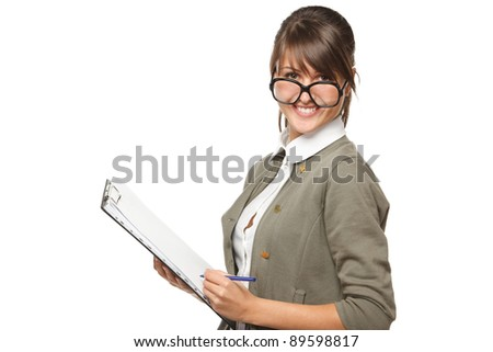 Young smiling woman wearing old fashioned eyeglasses standing with clipboard and a pan, isolated on white background. - stock photo