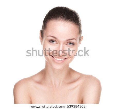 Young smiling woman with beautiful healthy face isolated on white background