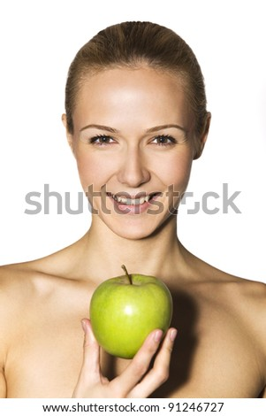 Young smiling woman with fruits - stock photo