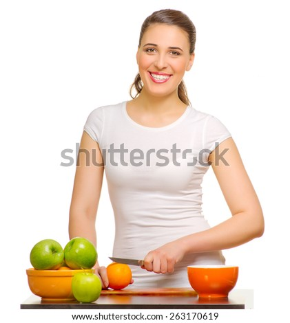 Young smiling woman with fruits isolated - stock photo