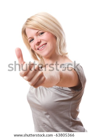 young smiling woman with thumb up over white