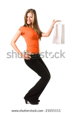 Young smiling woman with white bag. Isolated on white. - stock photo