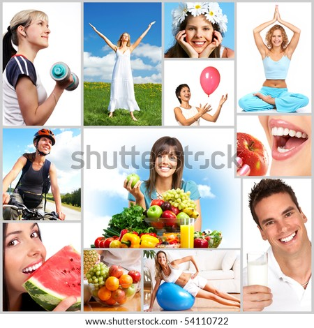 Young smiling women  with fruits and vegetables