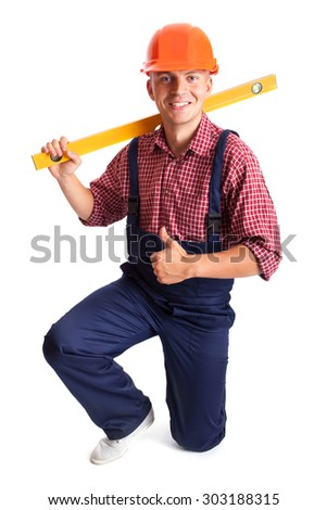 Young smiling  worker isolated on white - stock photo