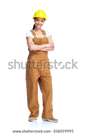 Young smiling Worker woman. Isolated over white background - stock photo