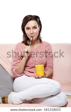 young smilling woman drink coffee  - stock photo