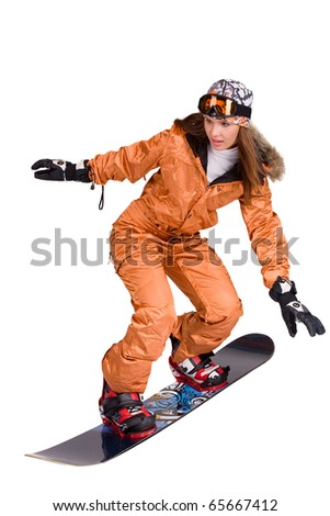Young snowboard woman racing downhill slope and freeride isolated on white - stock photo