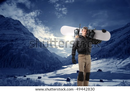 Young snowboarder st the mountain