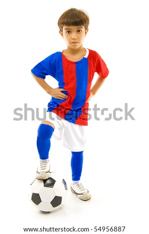 Young soccer, football player on white . - stock photo