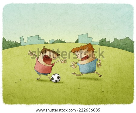 Young Soccer Players Kicking Ball - stock photo