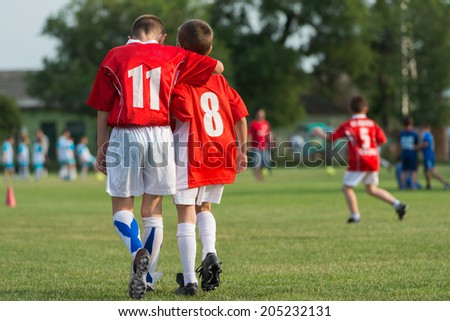 Young Soccer Players on a team - stock photo