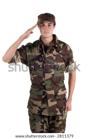 Young soldier in fatigues - stock photo